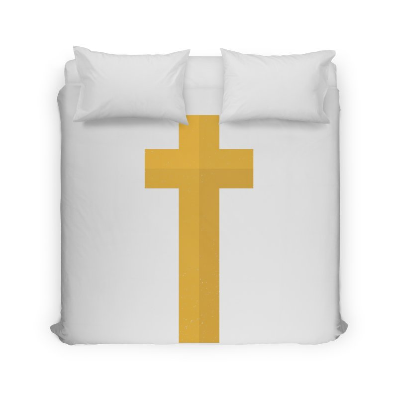 The Cross (gold) Home Duvet by Reformed Christian Goods & Clothing