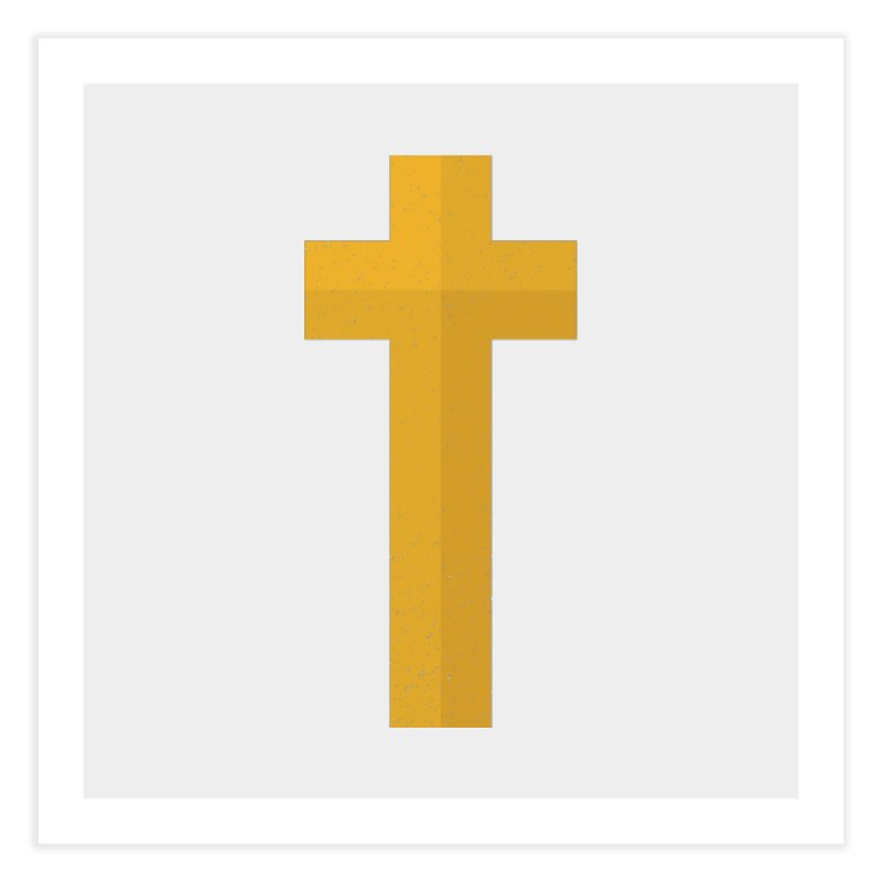 The Cross (gold) Home Fine Art Print by Reformed Christian Goods & Clothing