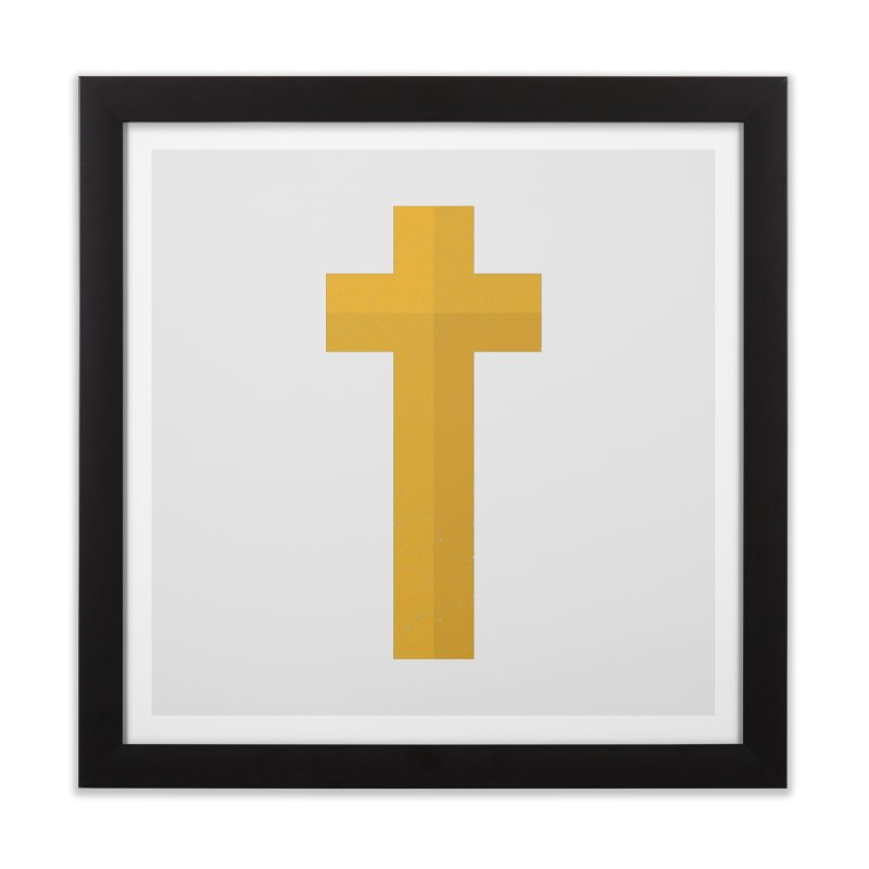 The Cross (gold) Home Framed Fine Art Print by Reformed Christian Goods & Clothing