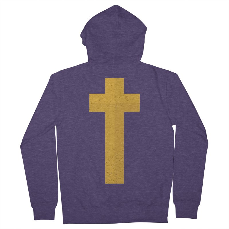 The Cross (gold) Men's French Terry Zip-Up Hoody by Reformed Christian Goods & Clothing