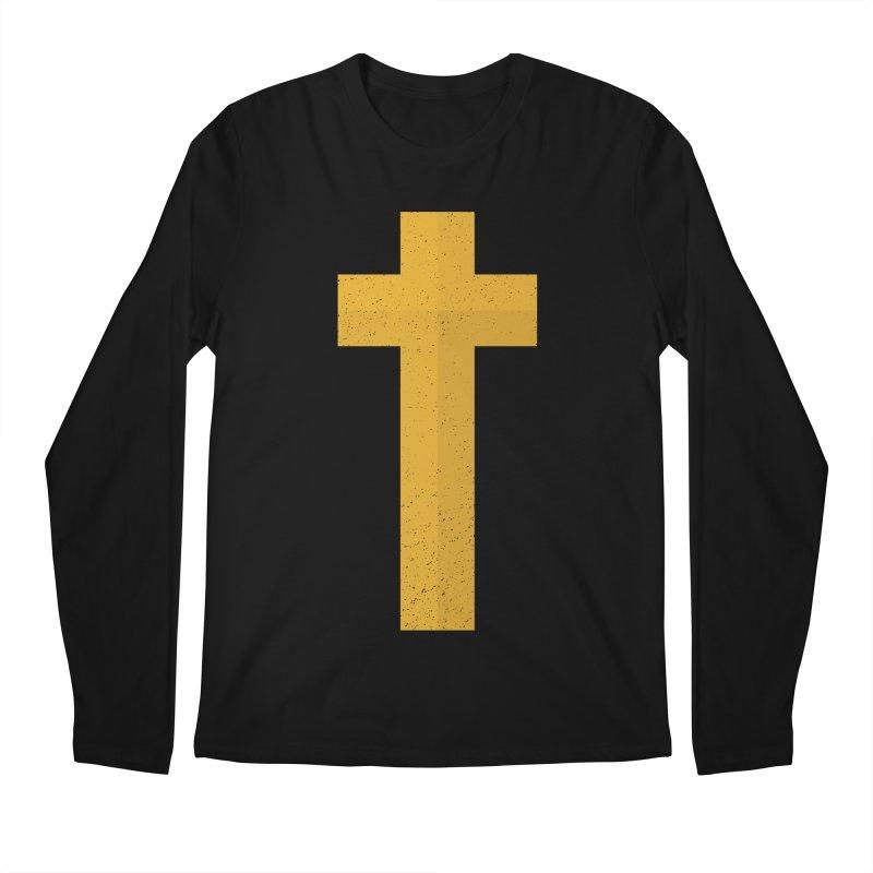 The Cross (gold) Men's Regular Longsleeve T-Shirt by A Worthy Manner Goods & Clothing