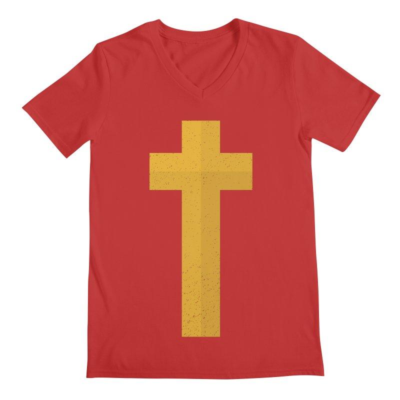 The Cross (gold) Men's V-Neck by Reformed Christian Goods & Clothing