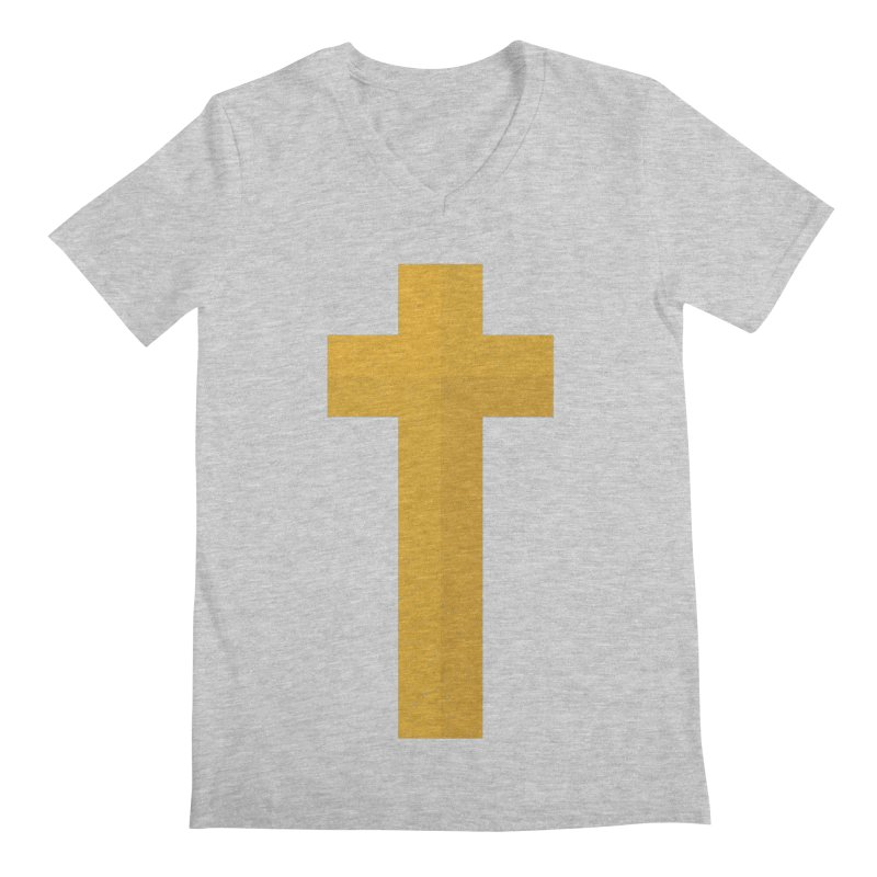 The Cross (gold) Men's V-Neck by Reformed Christian Goods & Clothing