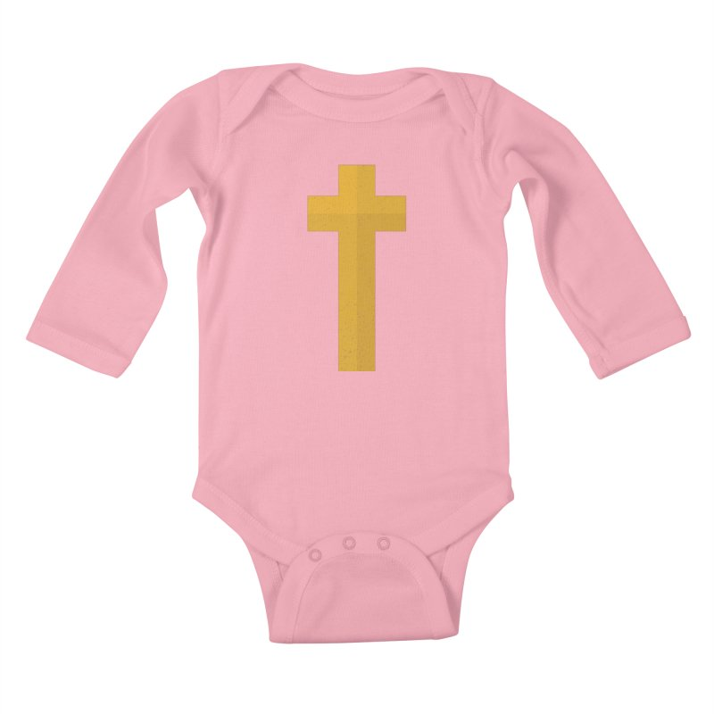 The Cross (gold) Kids Baby Longsleeve Bodysuit by Reformed Christian Goods & Clothing