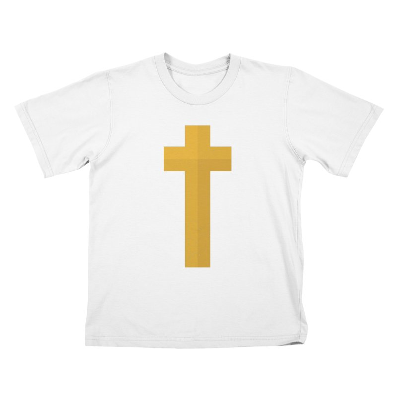The Cross (gold) Kids T-shirt by Reformed Christian Goods & Clothing