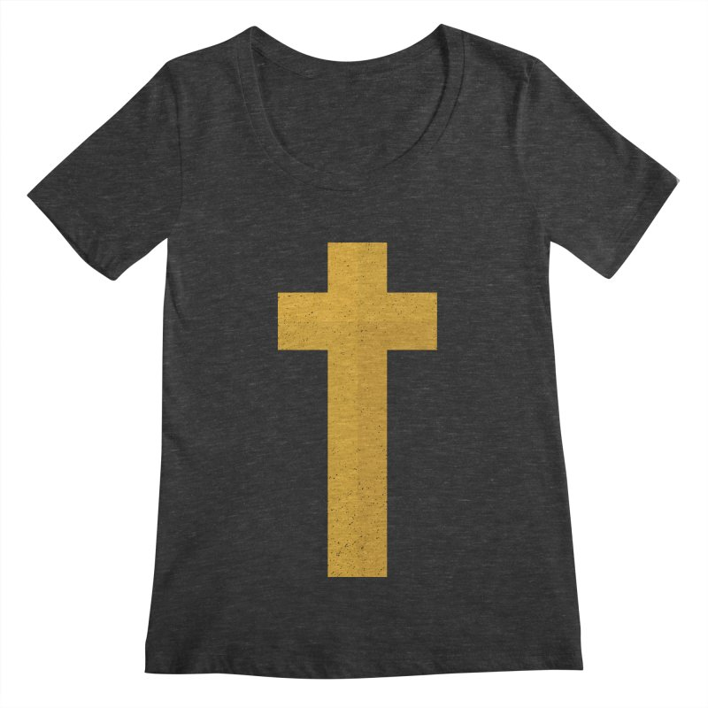 The Cross (gold) Women's Scoopneck by Reformed Christian Goods & Clothing