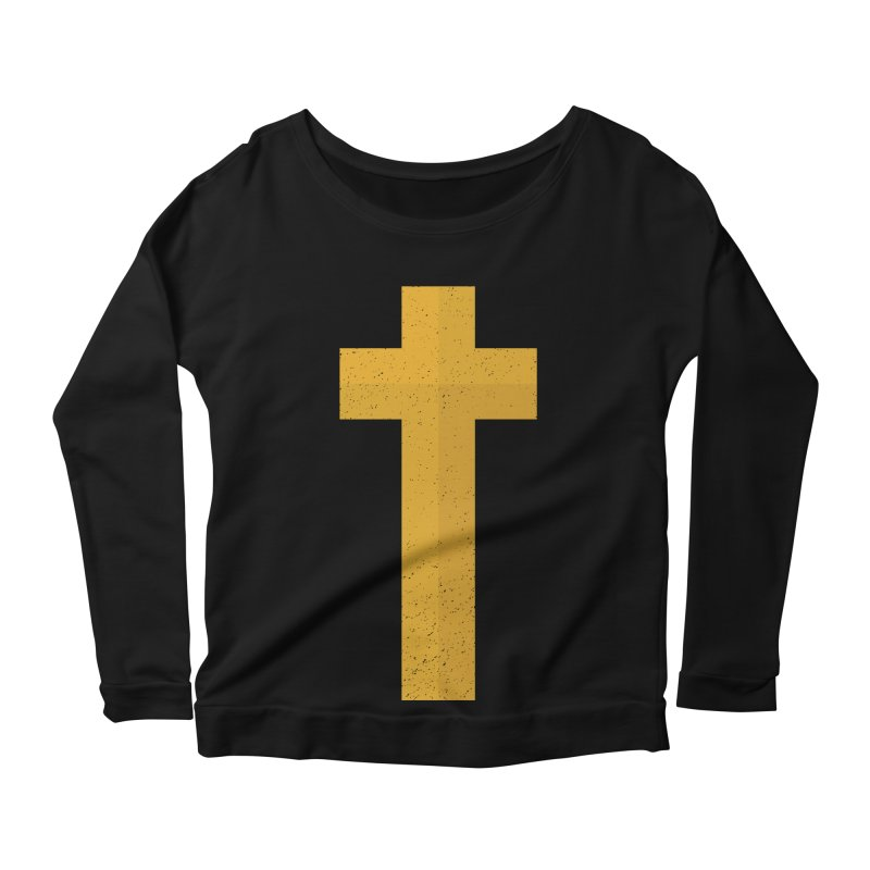 The Cross (gold) Women's Scoop Neck Longsleeve T-Shirt by A Worthy Manner Goods & Clothing