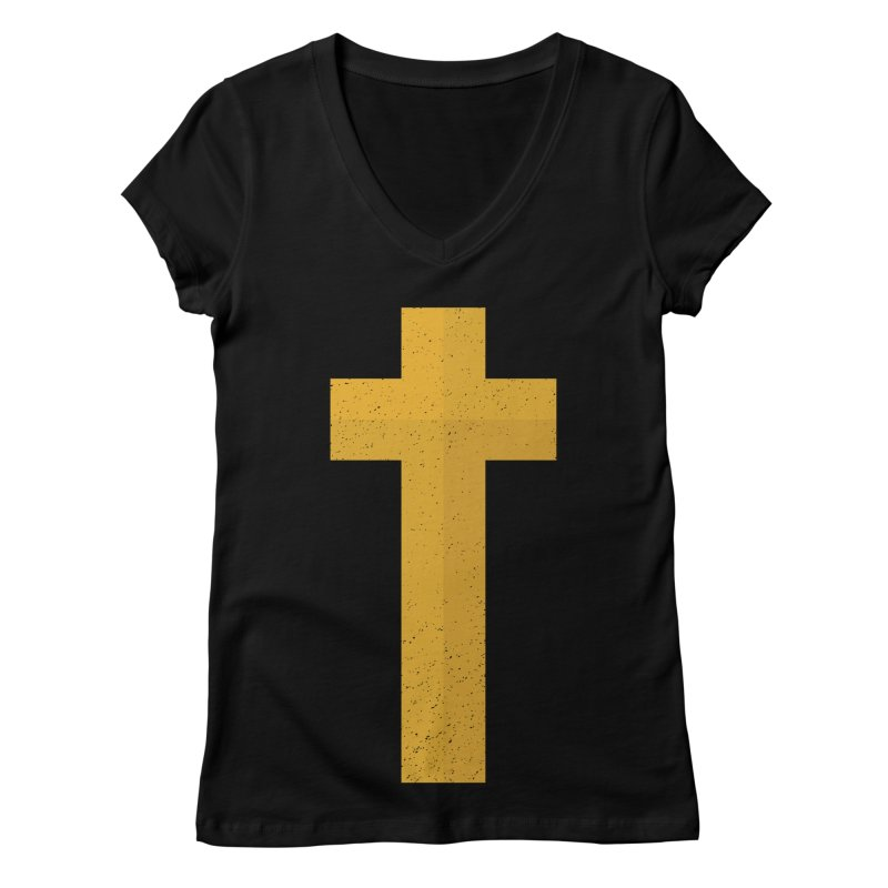 The Cross (gold) Women's V-Neck by Reformed Christian Goods & Clothing