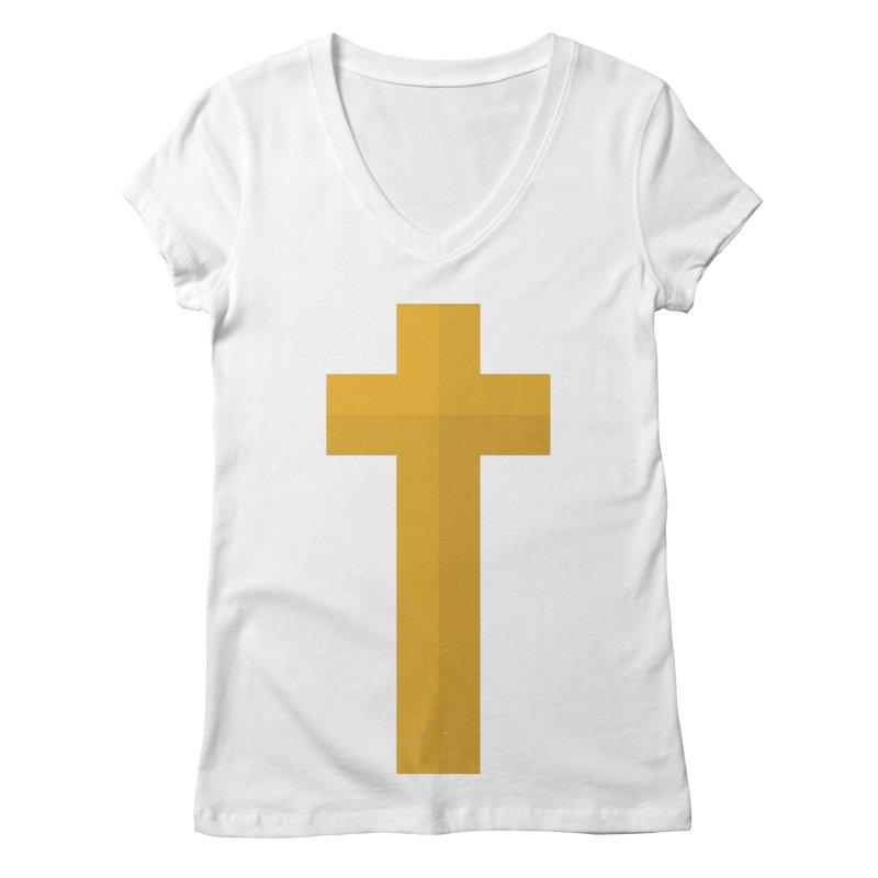 The Cross (gold) Women's V-Neck by Reformed Christian Goods & Clothing