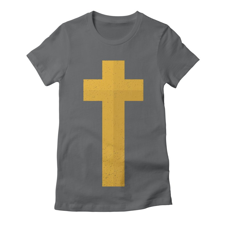 The Cross (gold) Women's Fitted T-Shirt by Reformed Christian Goods & Clothing