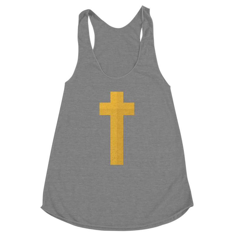 The Cross (gold) Women's Racerback Triblend Tank by Reformed Christian Goods & Clothing