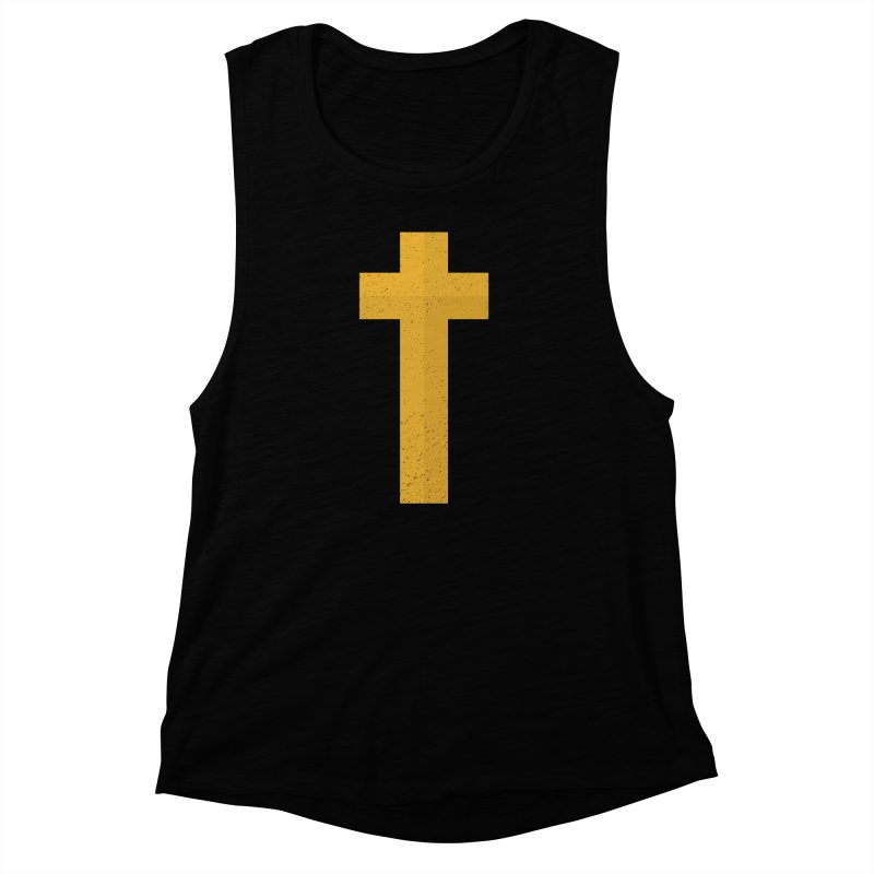 The Cross (gold) Women's Muscle Tank by Reformed Christian Goods & Clothing