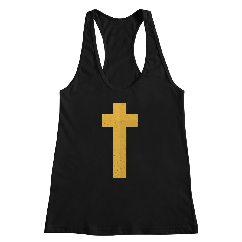 The Cross (gold) Women's Racerback Tank by Reformed Christian Goods & Clothing