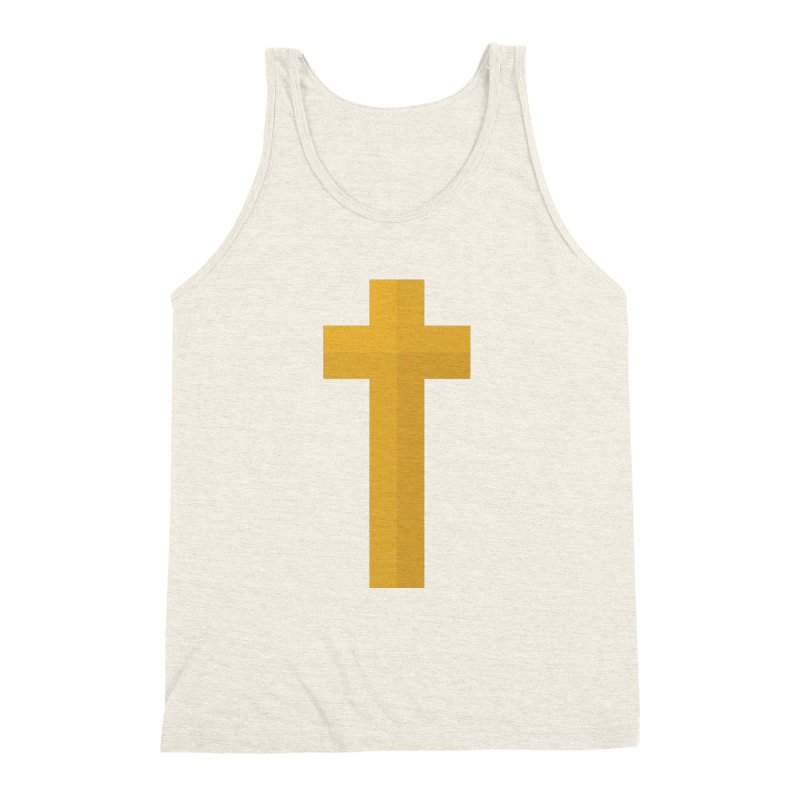 The Cross (gold) Men's Triblend Tank by Reformed Christian Goods & Clothing