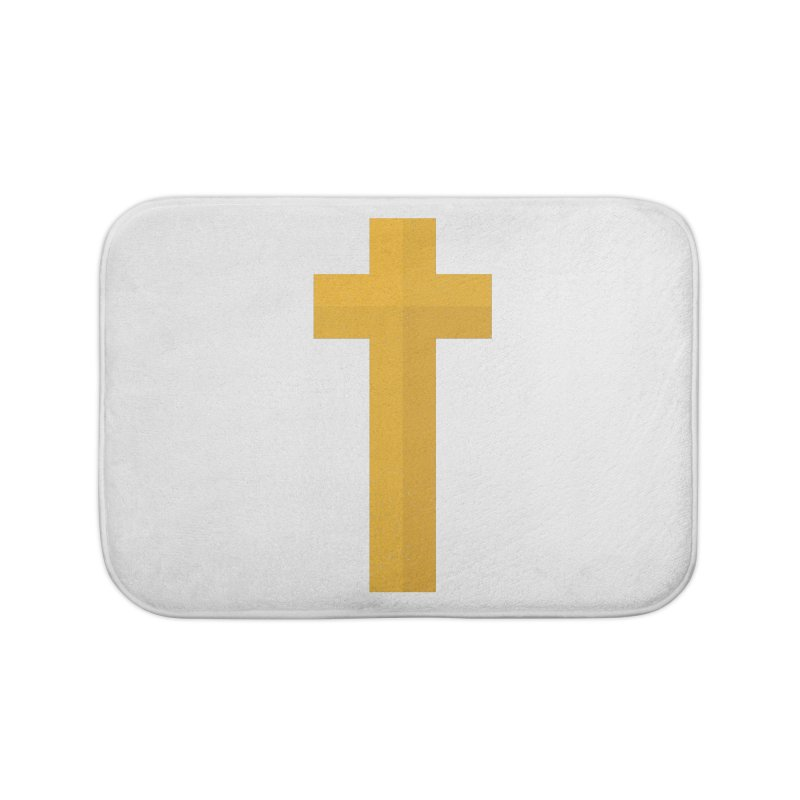 The Cross (gold) Home Bath Mat by Reformed Christian Goods & Clothing