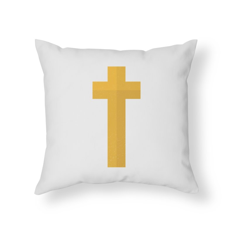 The Cross (gold) Home Throw Pillow by Reformed Christian Goods & Clothing