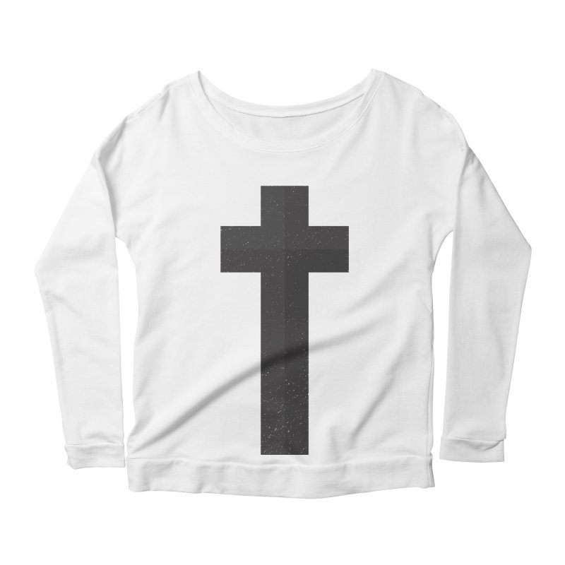 The Cross (black) Women's Scoop Neck Longsleeve T-Shirt by A Worthy Manner Goods & Clothing