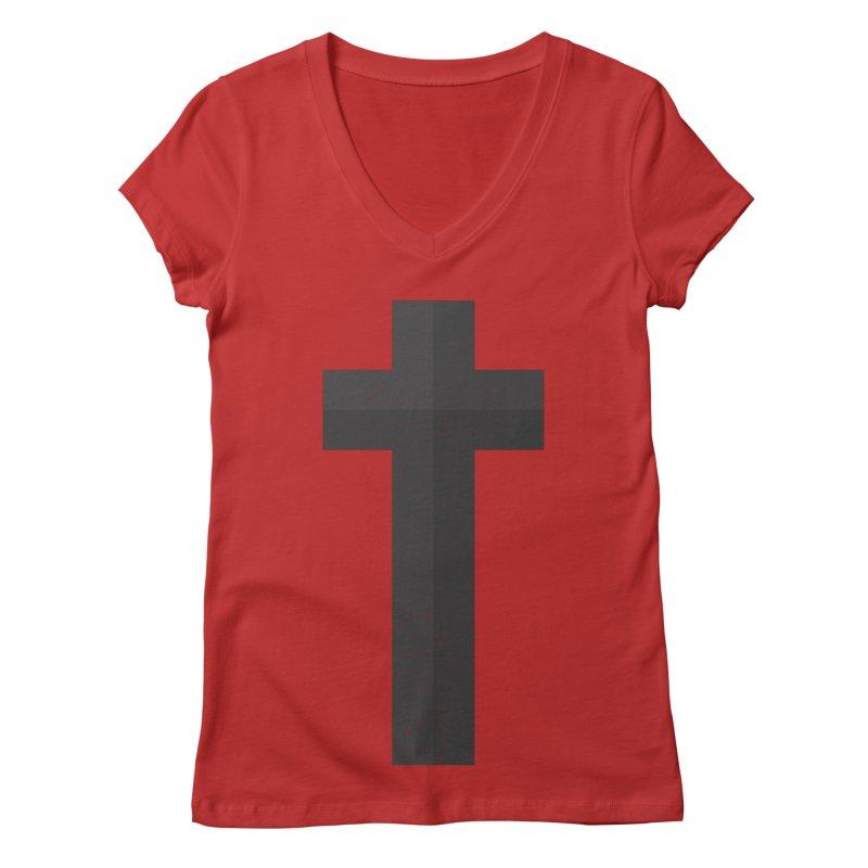 The Cross (black) Women's V-Neck by Reformed Christian Goods & Clothing