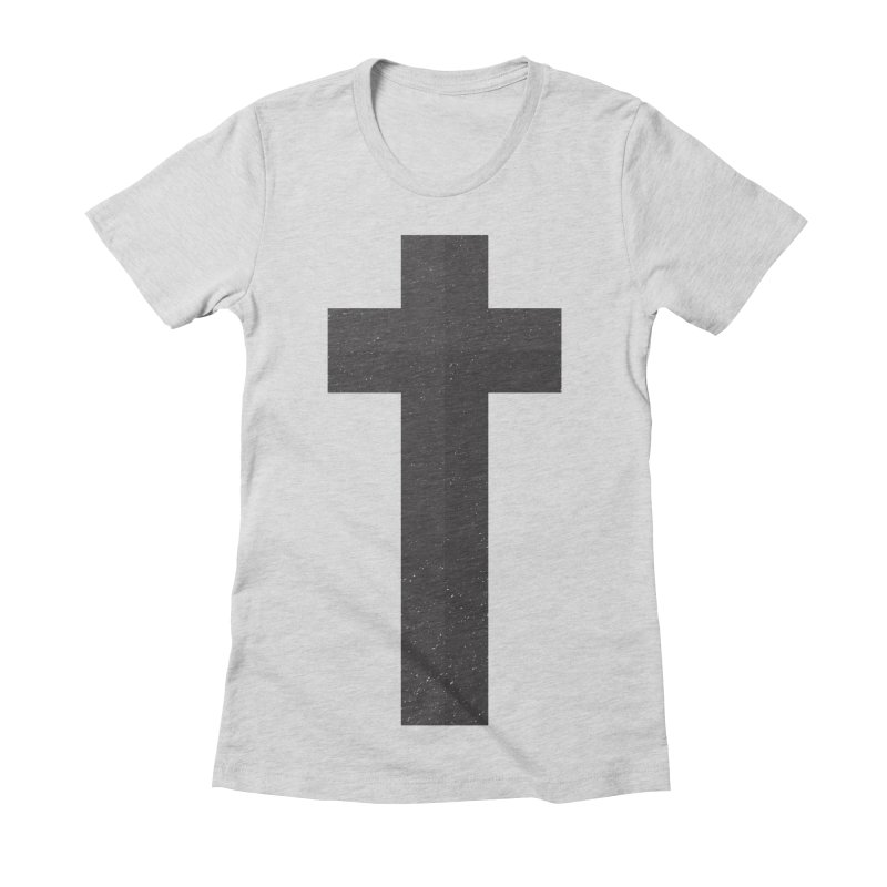 The Cross (black) Women's Fitted T-Shirt by Reformed Christian Goods & Clothing