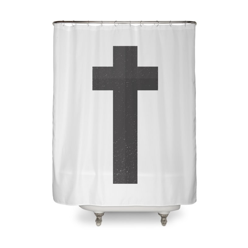 The Cross (black) Home Shower Curtain by Reformed Christian Goods & Clothing