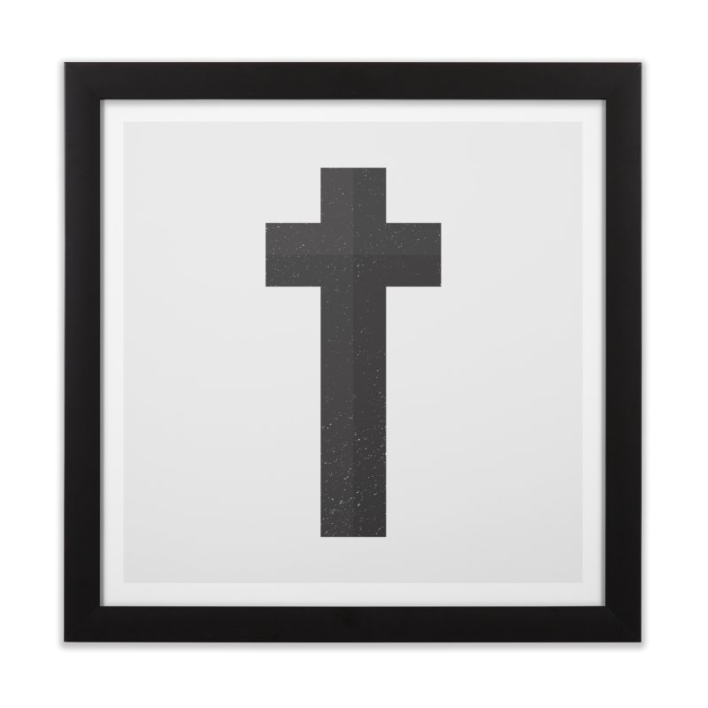 The Cross (black) Home Framed Fine Art Print by Reformed Christian Goods & Clothing