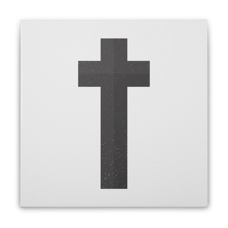 The Cross (black) Home Stretched Canvas by Reformed Christian Goods & Clothing