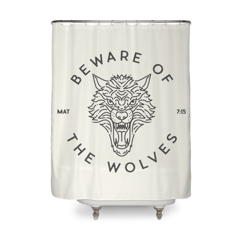 Beware of the Wolves (black) Home Shower Curtain by Reformed Christian Goods & Clothing