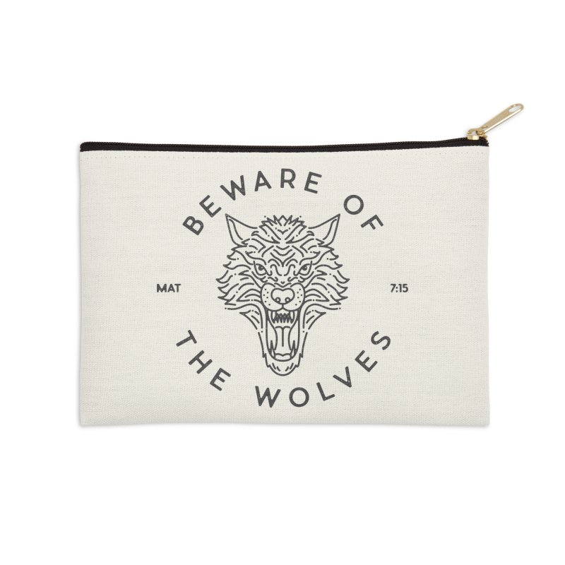 Beware of the Wolves (black) Accessories Zip Pouch by Reformed Christian Goods & Clothing