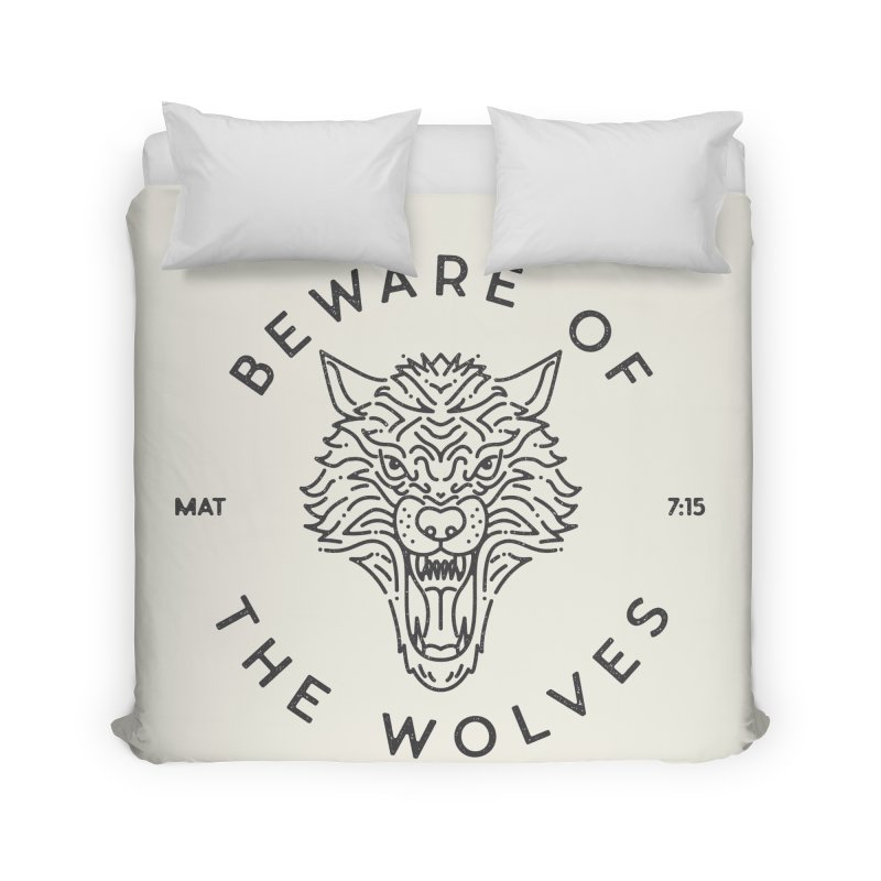 Beware of the Wolves (black) Home Duvet by Reformed Christian Goods & Clothing