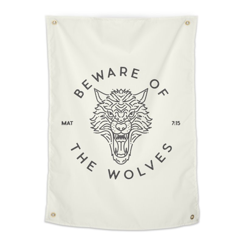 Beware of the Wolves (black) Home Tapestry by Reformed Christian Goods & Clothing