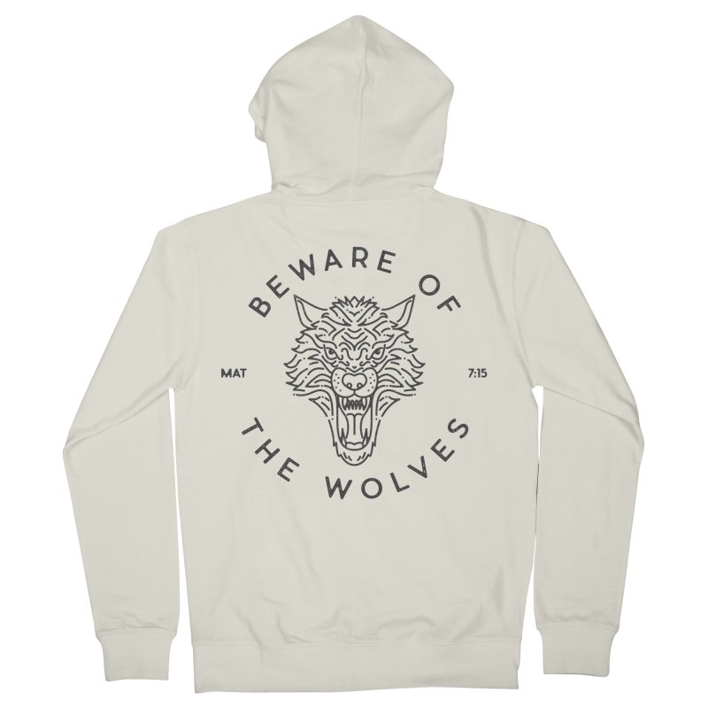 Beware of the Wolves (black) Women's Zip-Up Hoody by Reformed Christian Goods & Clothing