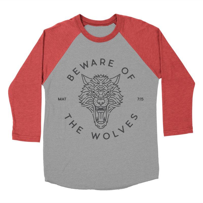 Beware of the Wolves (black) Men's Baseball Triblend T-Shirt by Reformed Christian Goods & Clothing