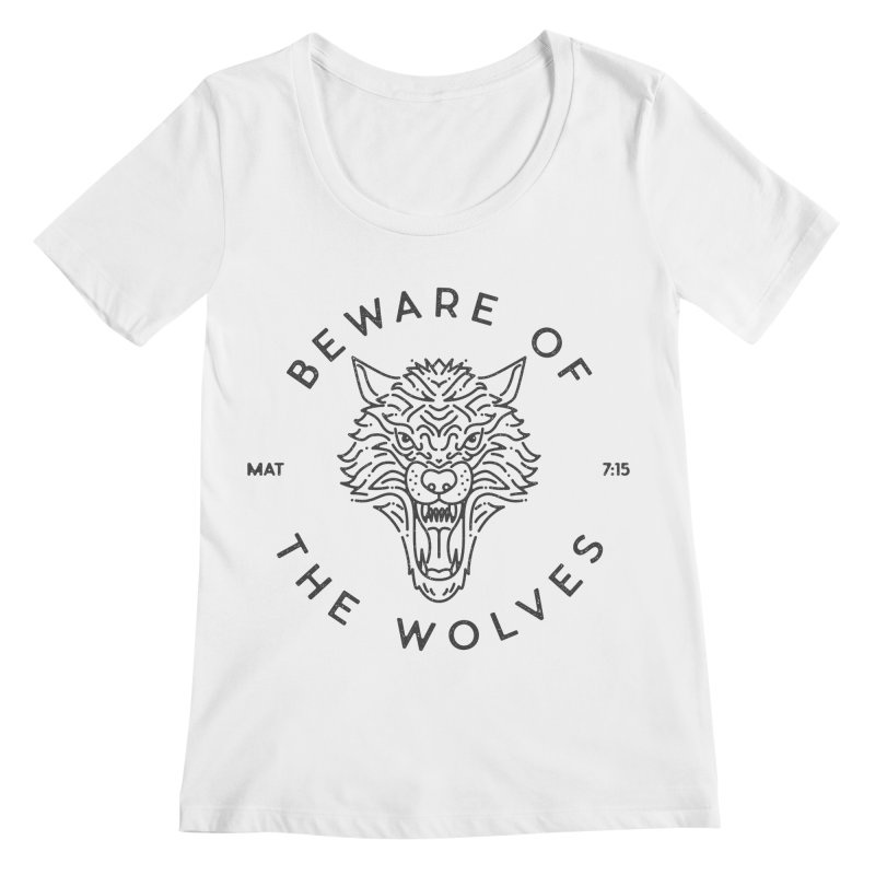Beware of the Wolves (black) Women's Scoopneck by Reformed Christian Goods & Clothing
