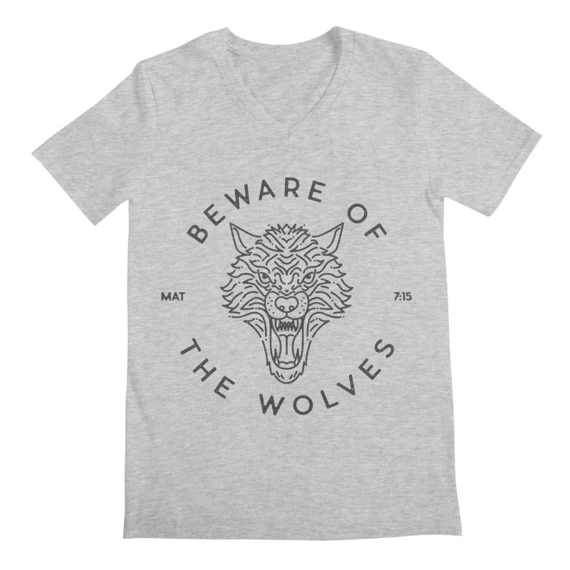 Beware of the Wolves (black) Men's V-Neck by Reformed Christian Goods & Clothing