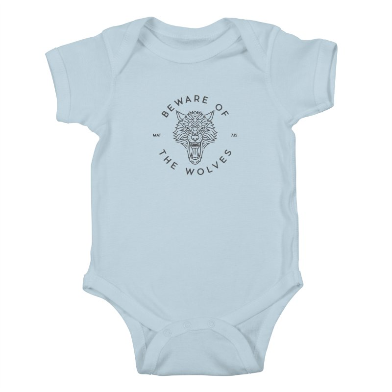 Beware of the Wolves (black) Kids Baby Bodysuit by Reformed Christian Goods & Clothing