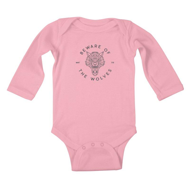 Beware of the Wolves (black) Kids Baby Longsleeve Bodysuit by Reformed Christian Goods & Clothing
