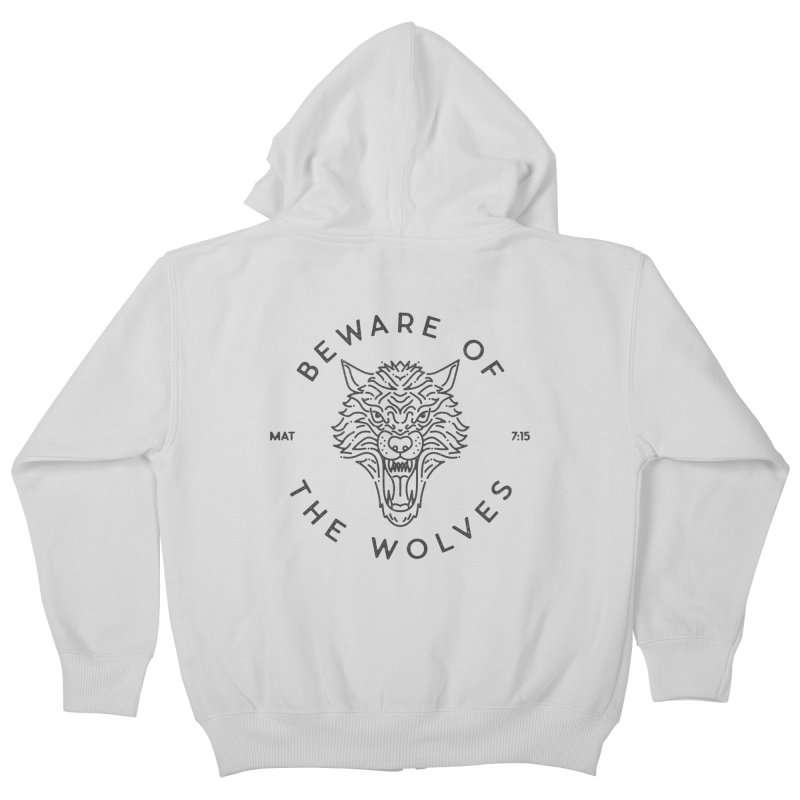 Beware of the Wolves (black) Kids Zip-Up Hoody by Reformed Christian Goods & Clothing