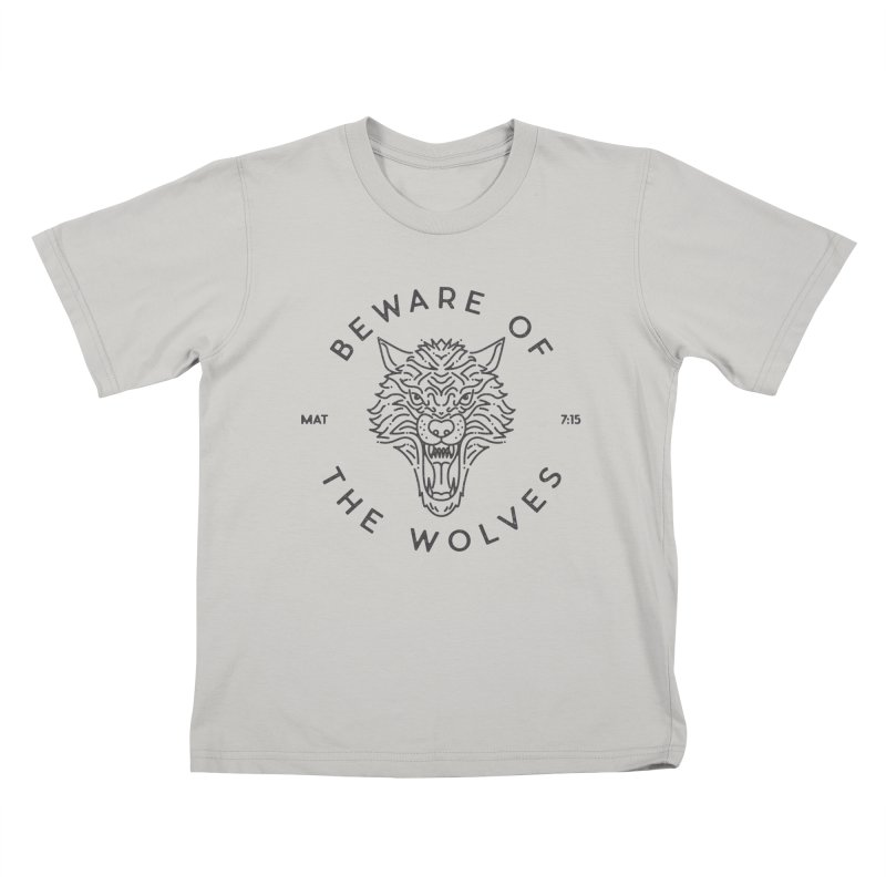 Beware of the Wolves (black) Kids T-shirt by Reformed Christian Goods & Clothing
