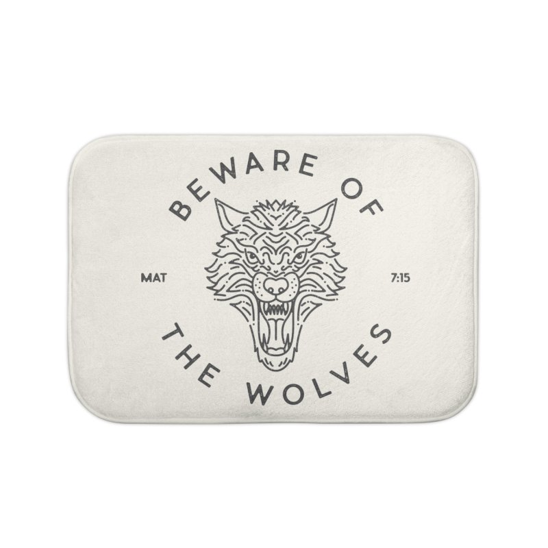 Beware of the Wolves (black) Home Bath Mat by Reformed Christian Goods & Clothing