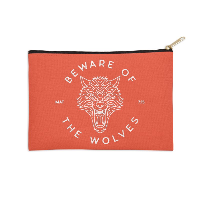 Beware of the Wolves (white) Accessories Zip Pouch by Reformed Christian Goods & Clothing