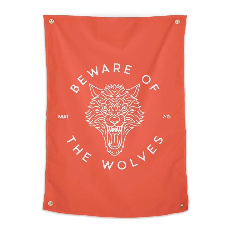 Beware of the Wolves (white) Home Tapestry by Reformed Christian Goods & Clothing