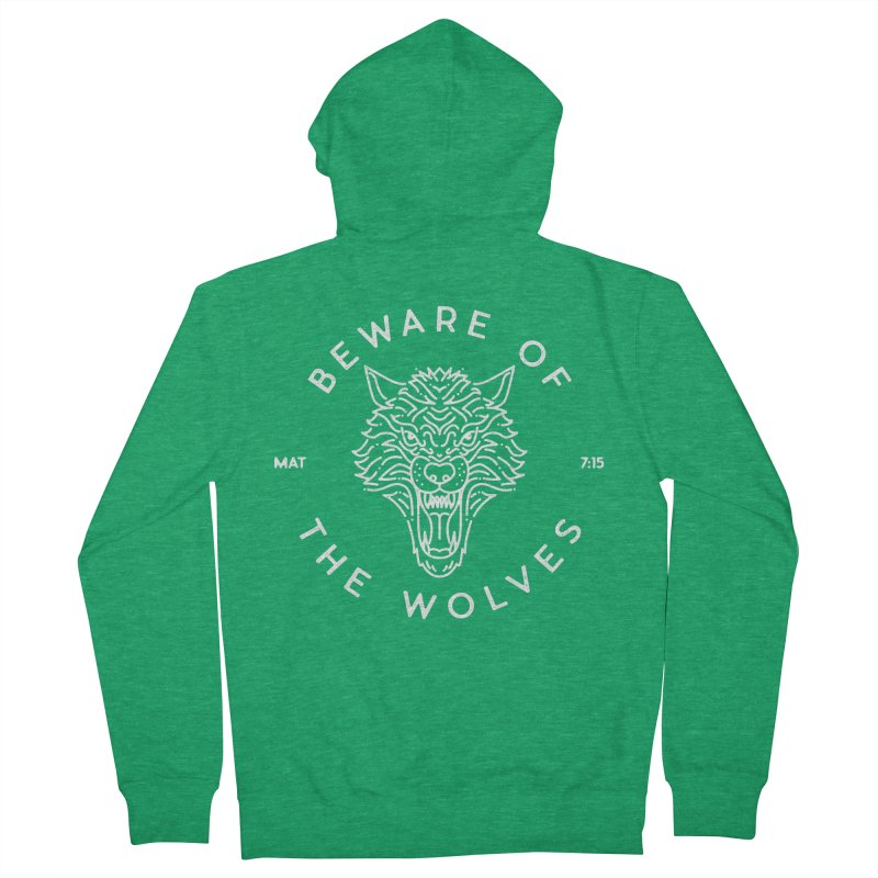 Beware of the Wolves (white) Men's French Terry Zip-Up Hoody by Reformed Christian Goods & Clothing