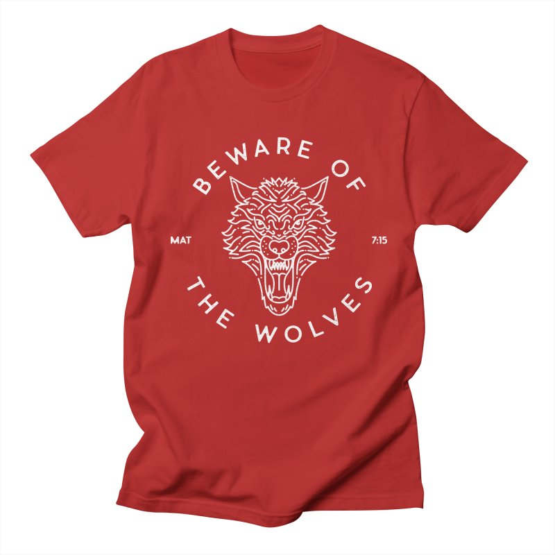 Beware of the Wolves (white) Men's T-shirt by Reformed Christian Goods & Clothing