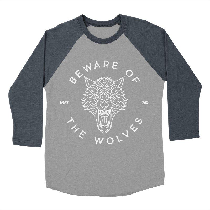 Beware of the Wolves (white) Men's Baseball Triblend T-Shirt by Reformed Christian Goods & Clothing