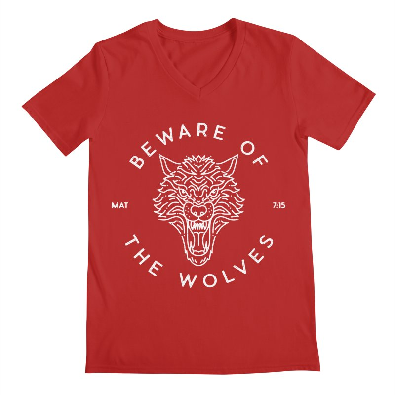 Beware of the Wolves (white) Men's V-Neck by Reformed Christian Goods & Clothing