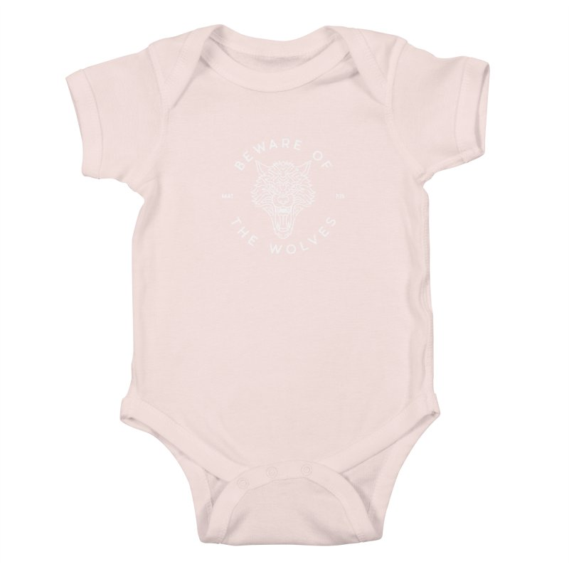 Beware of the Wolves (white) Kids Baby Bodysuit by Reformed Christian Goods & Clothing