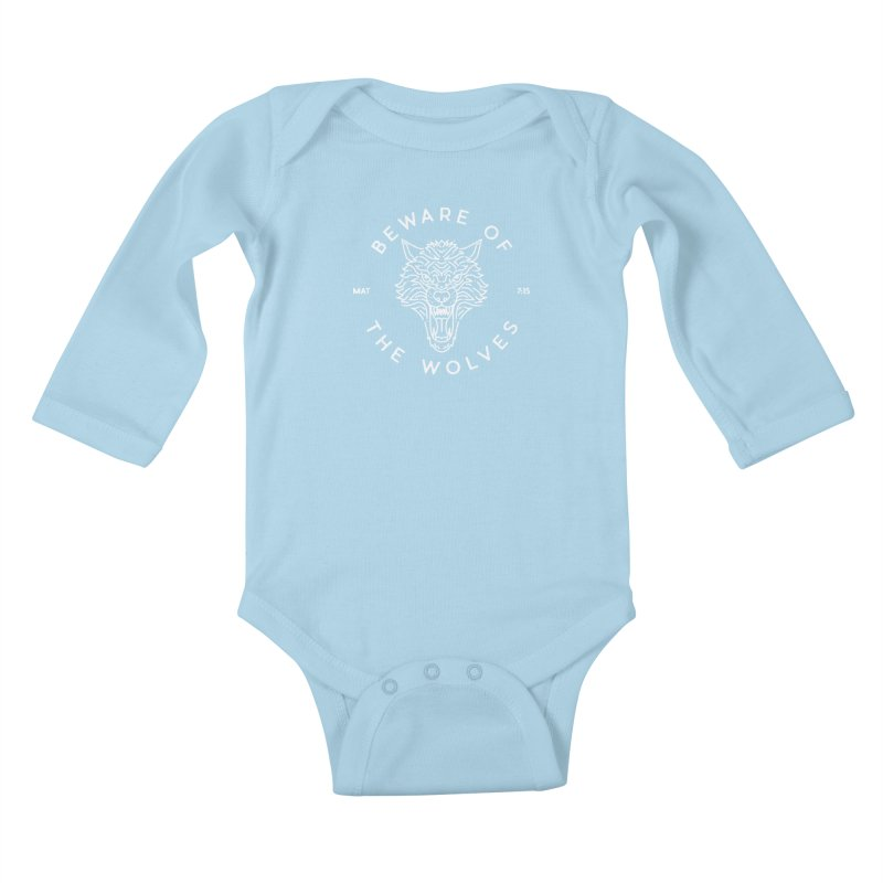 Beware of the Wolves (white) Kids Baby Longsleeve Bodysuit by Reformed Christian Goods & Clothing