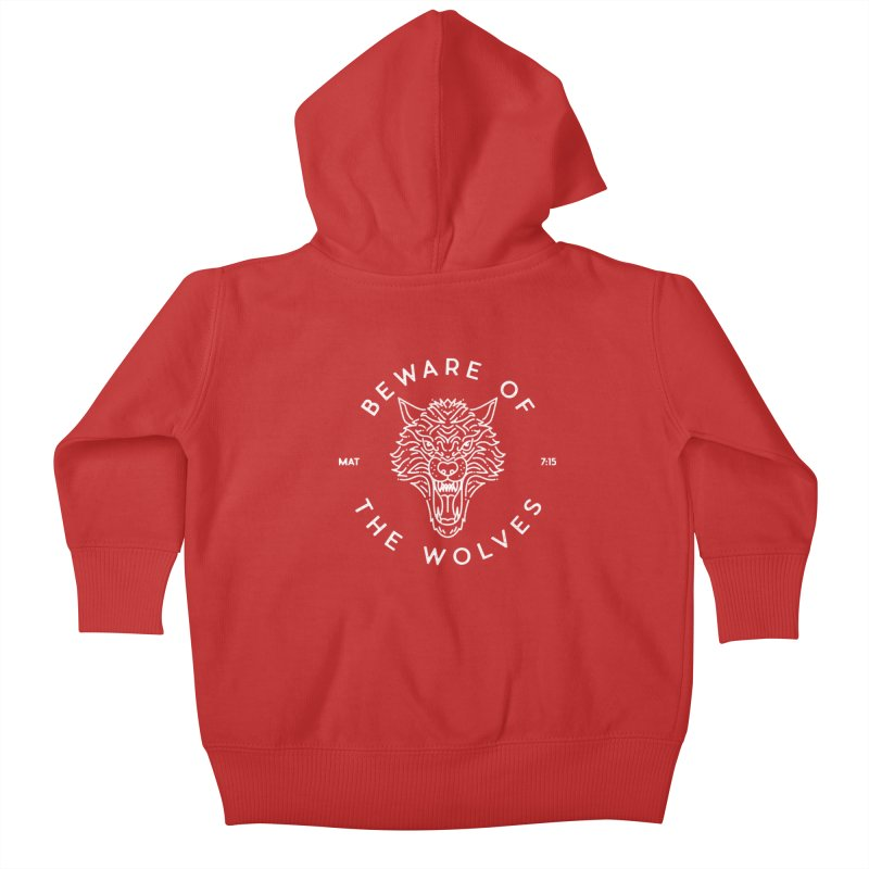 Beware of the Wolves (white) Kids Baby Zip-Up Hoody by Reformed Christian Goods & Clothing