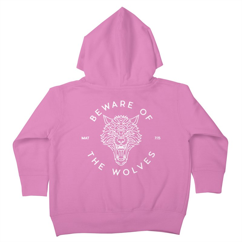 Beware of the Wolves (white) Kids Toddler Zip-Up Hoody by Reformed Christian Goods & Clothing