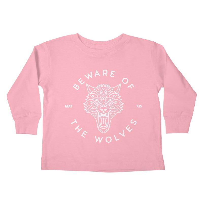 Beware of the Wolves (white) Kids Toddler Longsleeve T-Shirt by Reformed Christian Goods & Clothing